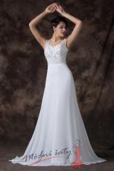 Bílé svatební šaty s odvážně odhalenými zády