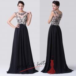 Společenské černé šaty s krajkou