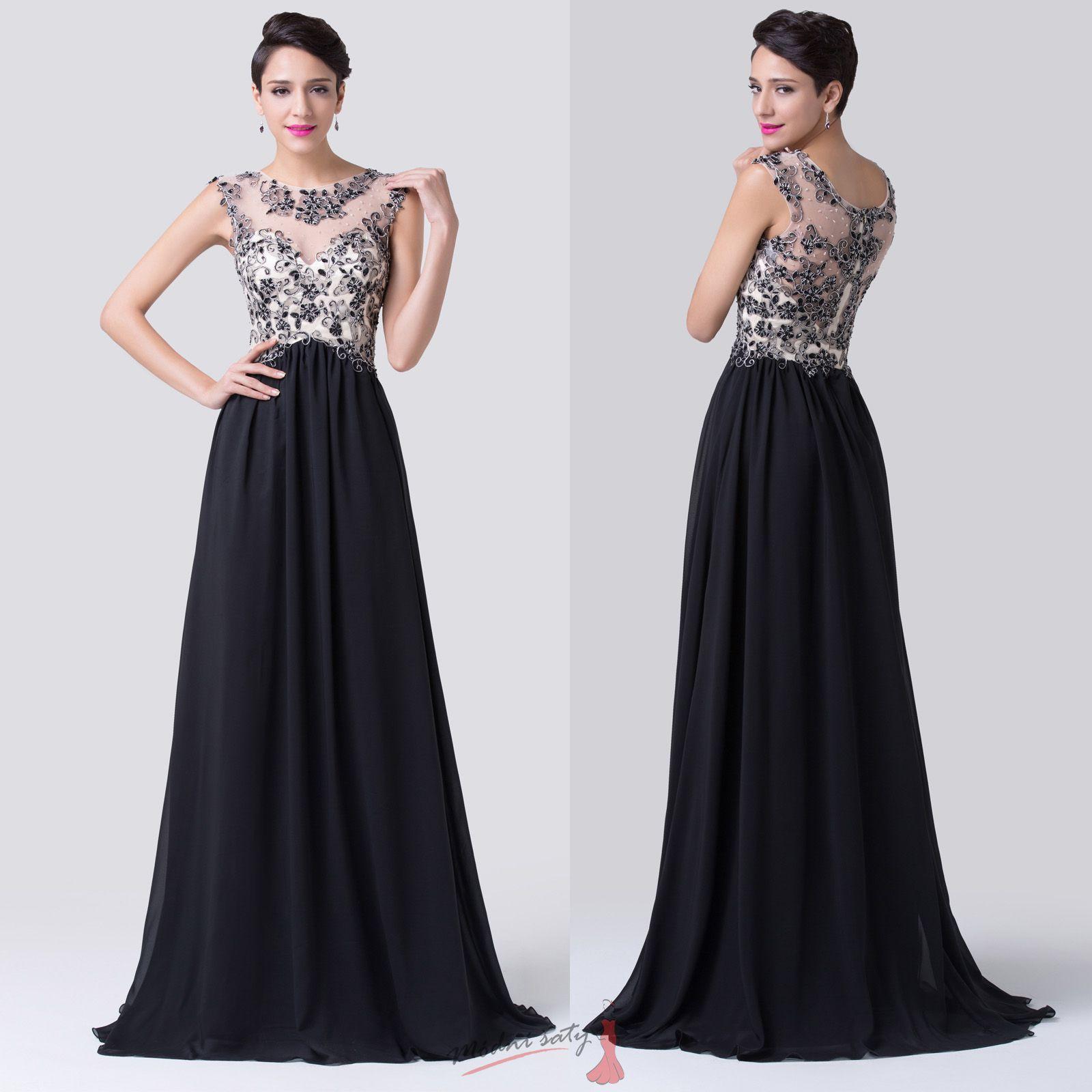 Společenské černé šaty s krajkou 2db1febdb64