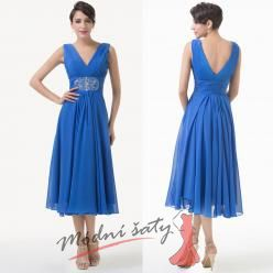 Modré společenské šaty střední délky