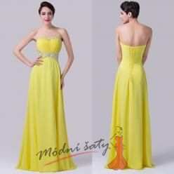 Žluté šaty do tanečních bez ramínek