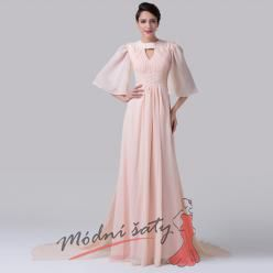 Meruňkové šaty s volnými tříčtvrtečními rukávy