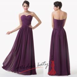 Tmavě fialové plesové šaty bez ramínek