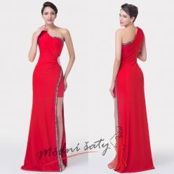 Antické červené šaty s rozparkem