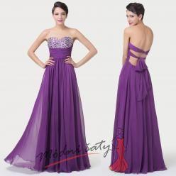Fialové plesové šaty s holými zády