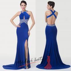 Tmavě modré večerní šaty s překřížením na zádech