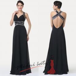 Černé večerní šaty s překřížením na zádech