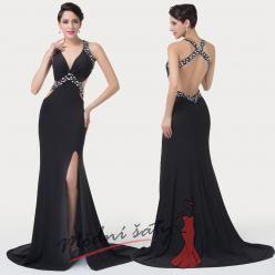 Černé odvážné večerní šaty s vysokým rozparkem a odhalenými zády