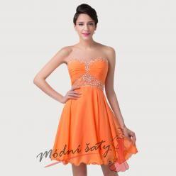 Oranžové plesové šaty nad kolena