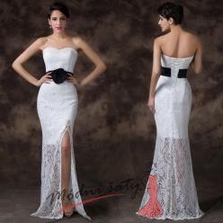 Bílé plesové šaty krajkové s černým páskem a růží