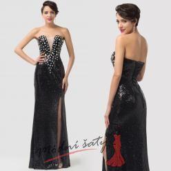 Večerní šaty s flitry s vysokým rozparkem - více barev