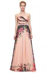 Květinové plesové šaty bez ramínek vel. 48 až 54