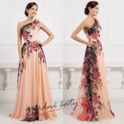 Květinové společenské šaty přes rameno  vel. 48 až 54