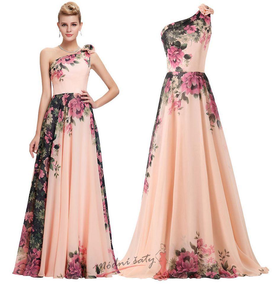 Vel. 42.- Květinové společenské šaty přes rameno 7b66081e4e4