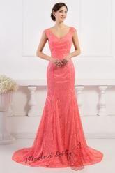 Krajkové lososové šaty