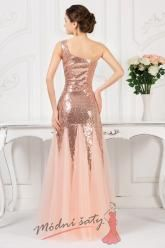 Meruňkové plesové šaty s flitry