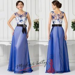 Dvouvrstvé společenské šaty tmavě modré