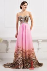 Leopardí růžové šaty na ples