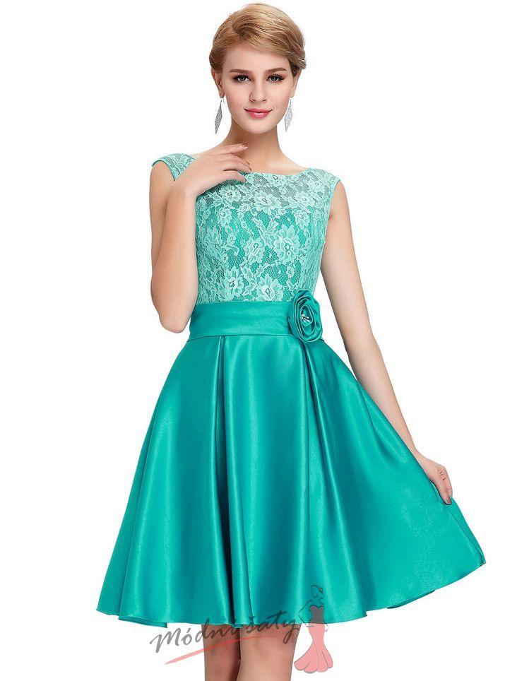 Zelené společenské šaty s květinou f7fec39ac7