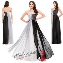 Černo šedé plesové šaty zdobené flitry