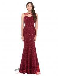 Úzké červené večerní šaty poseté flitry