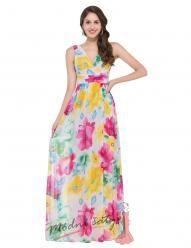 Barevné květinové šaty na širokých ramínkách
