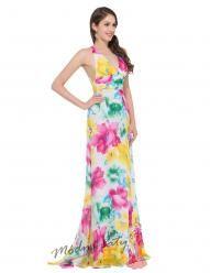 Barevné květinové šaty s překřížením na zádech