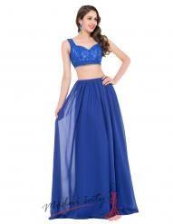 Šaty orientálního střihu dvoudílné modré