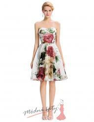 Bílé koktejlové šaty s květinovým vzorem