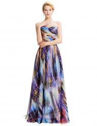 Barevné romantické šaty bez ramínek