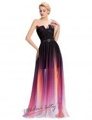 Fialovočerné šatičky večerní s průhlednou sukní