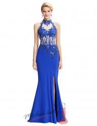 Modré plesové šaty s rozparkem