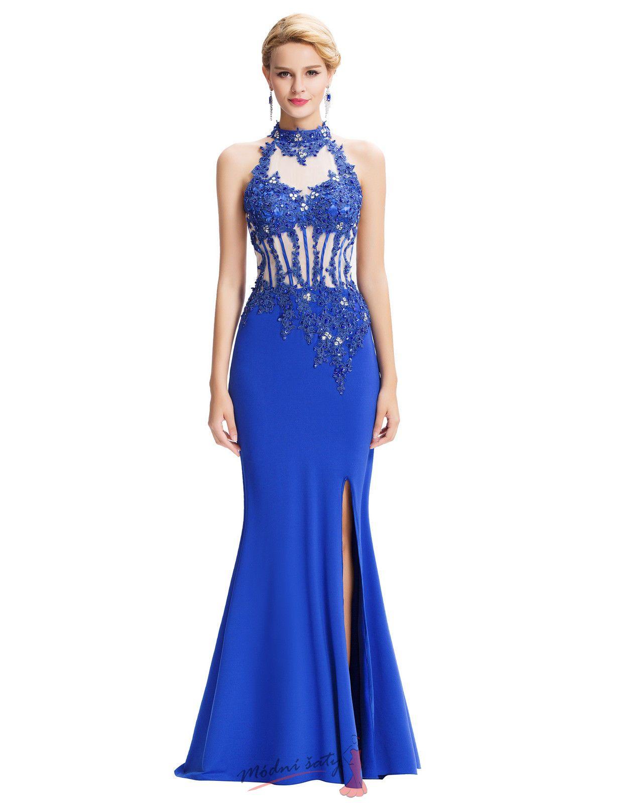 f4b8b16a5c3b Modré plesové šaty s rozparkem