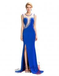 Modré plesové šaty s průhledným bílým vrškem