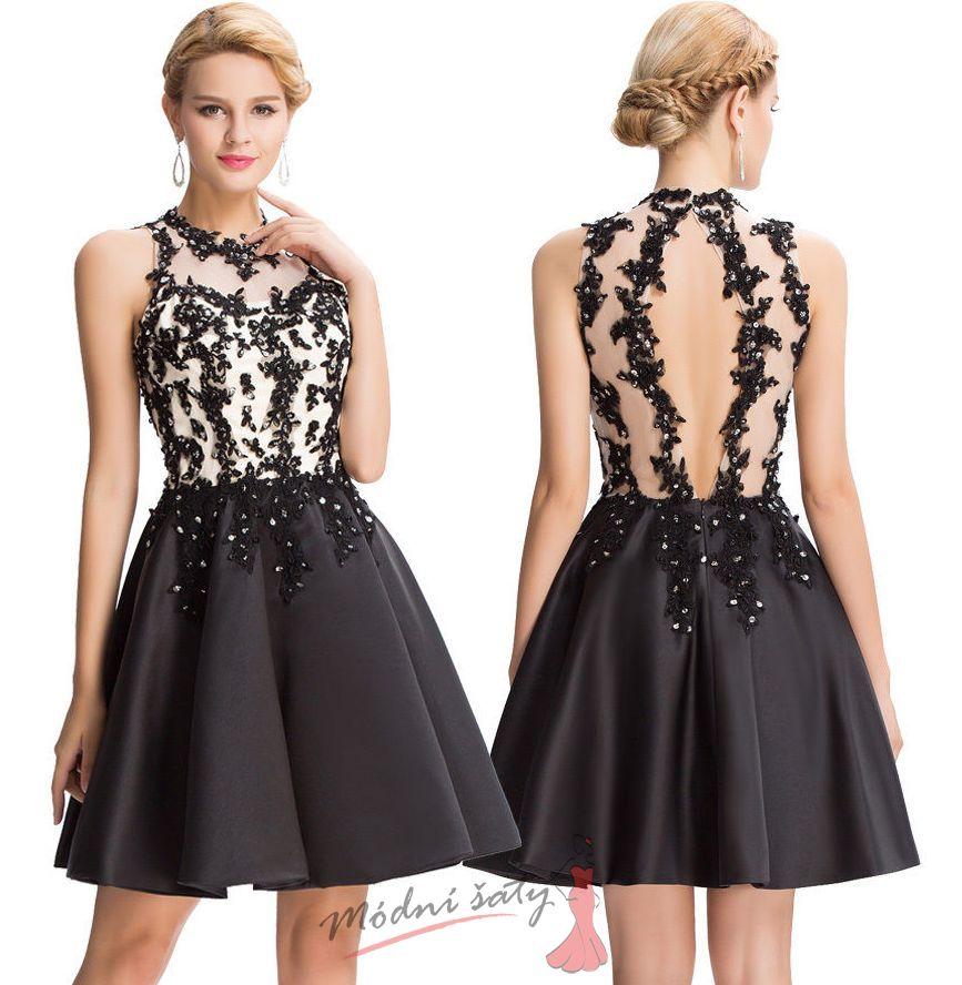 Vel. 38.- Černobílé koktejlové šaty s krajkou 60464bb456