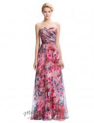 Plesové šaty s romantickým květinovým vzorem