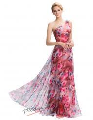 Plesové květinové šaty na jedno ramínko