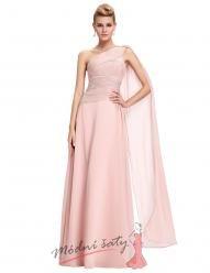 Světle růžové šaty s přehozem přes rameno