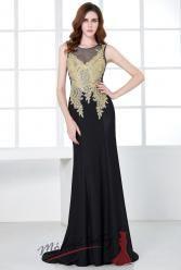 Orientální černé večerní šaty se zlatým zdobením