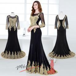 Orientální večerní šaty se zlatým zdobením s delším rukávem