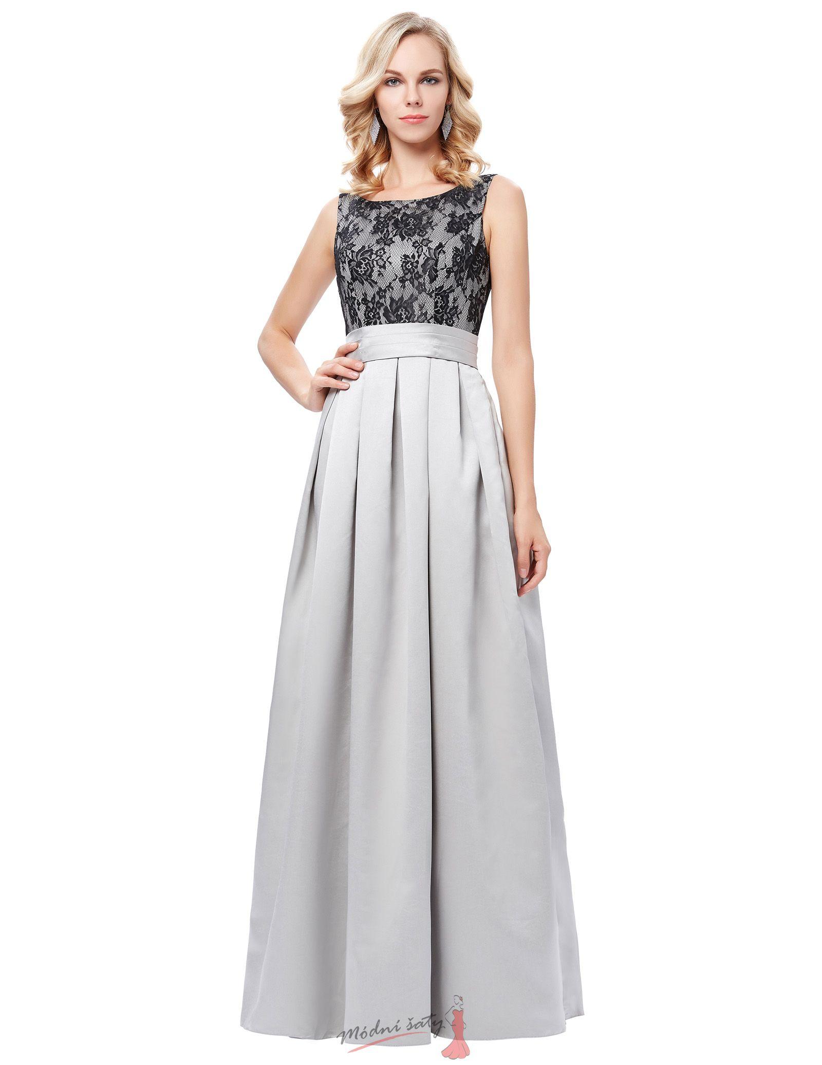 Šedé společenské šaty s krajkovým vrškem 0027e7c2fe
