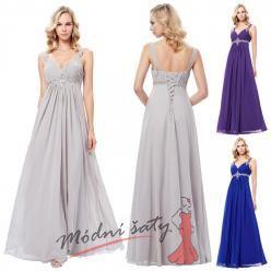 Plesové šaty na širokých ramínkách se stříbrnou aplikací