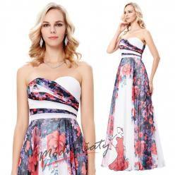 Dlouhé romantické plesové šaty s květinovým motivem