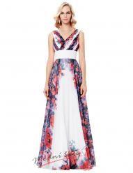 Vel. 40.- Romantické plesové šaty s květinovým vzorem na šir