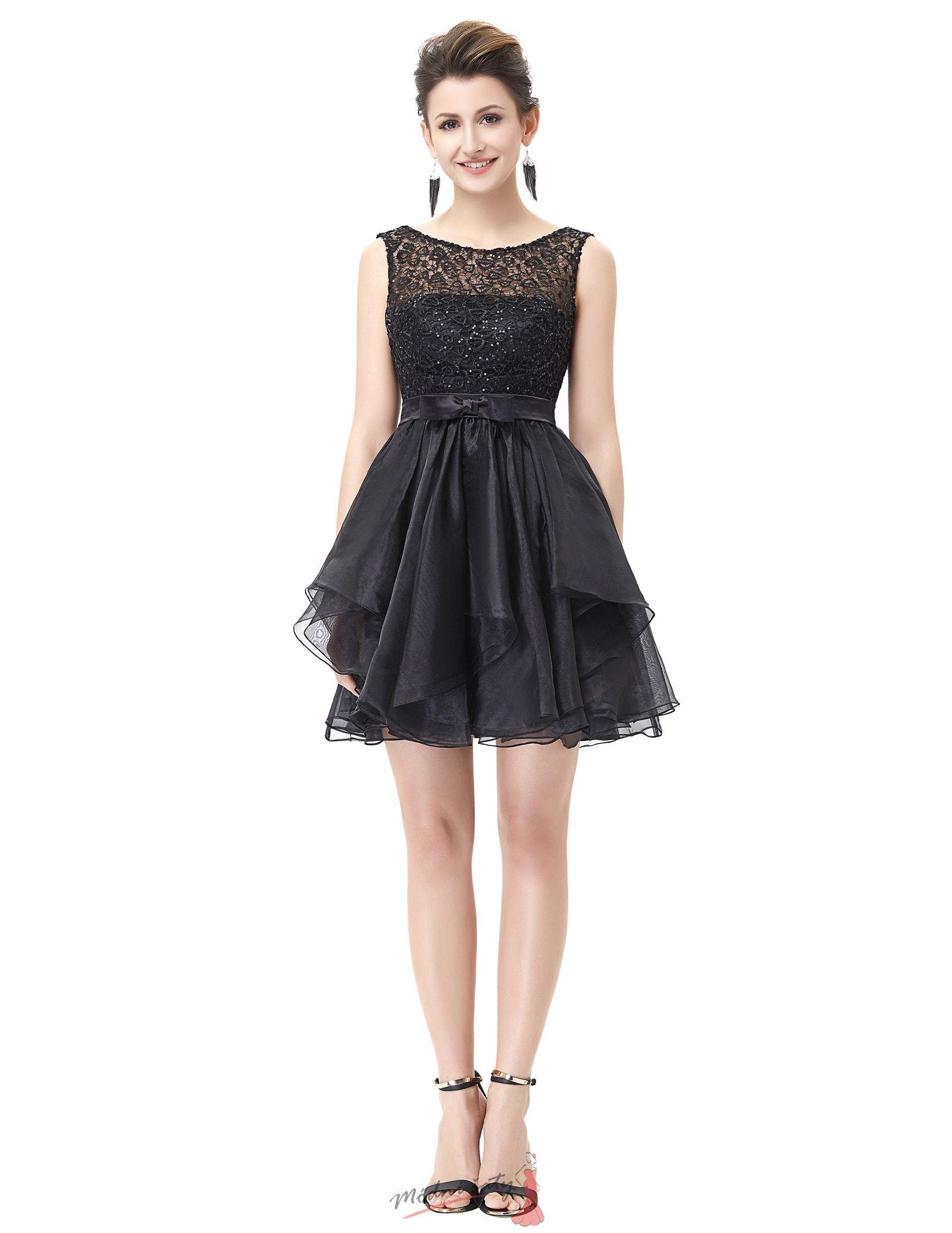 Černé koktejlové šaty s krajkovým vrškem 8abfa3beef