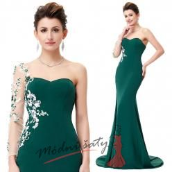 Tmavě zelené večerní šaty s bílou výšivkou