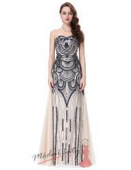 Plesové šaty krémové s černým orientálním zdobením