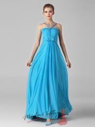 Azurově modré romantické plesové šaty