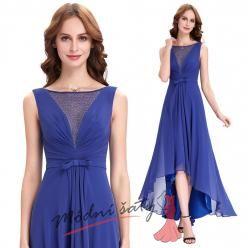 Modré asymetrické šaty s průhledným živůtkem