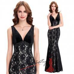 Uplé večerní šaty s krajkou a hlubokým výstřihem